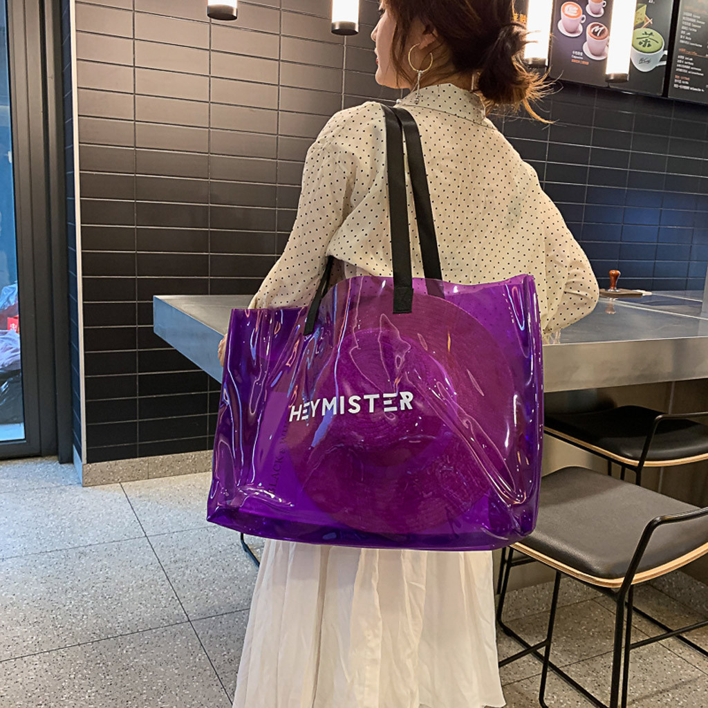 PVC Clear Transparent Tote Bags Women Candy Jelly Beach Bags Women Summer Large Transpare Casual Shopping Shoulder Bags June3