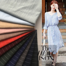 Summer thin all-cotton yarn-dyed striped fabric national style Linen Shirt breathable skirt