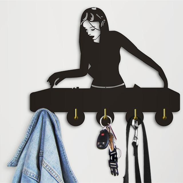 1piece Woman Dj Club Decorative Wall Hooks Creative Music Theme Art