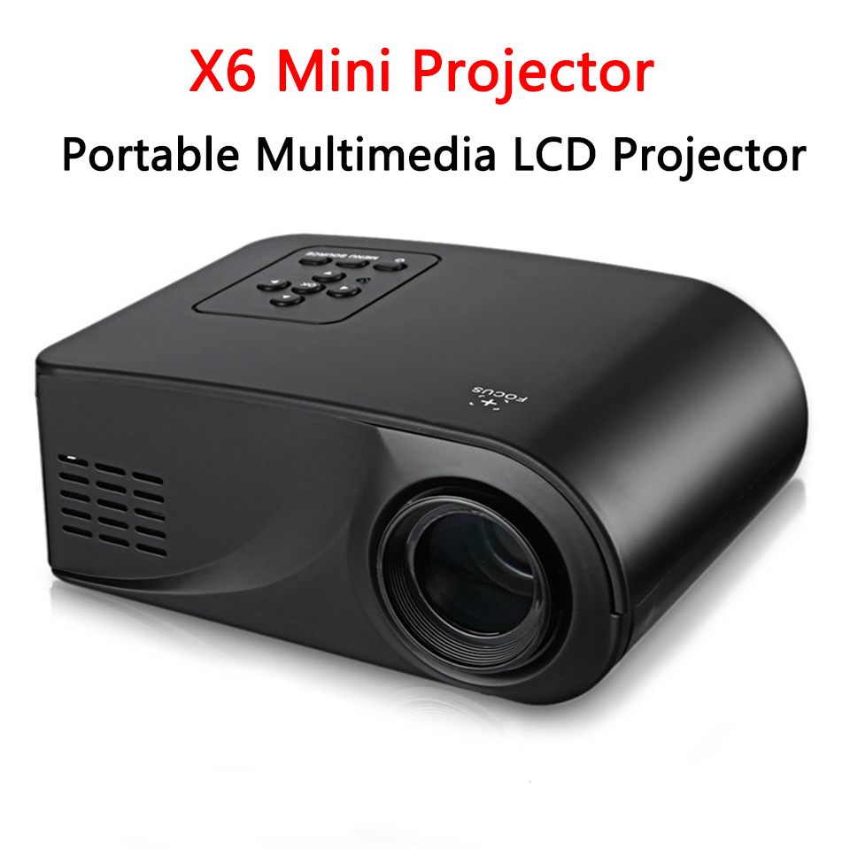 Full HD 1080P Video 800 Lumen Portable X6 Mini Projector LED HDMI/AV/VGA/SD/USB Home Theater Home theater system Only white gm50 1080p hd home theater led projector w sd hdmi vga av usb white black eu plug