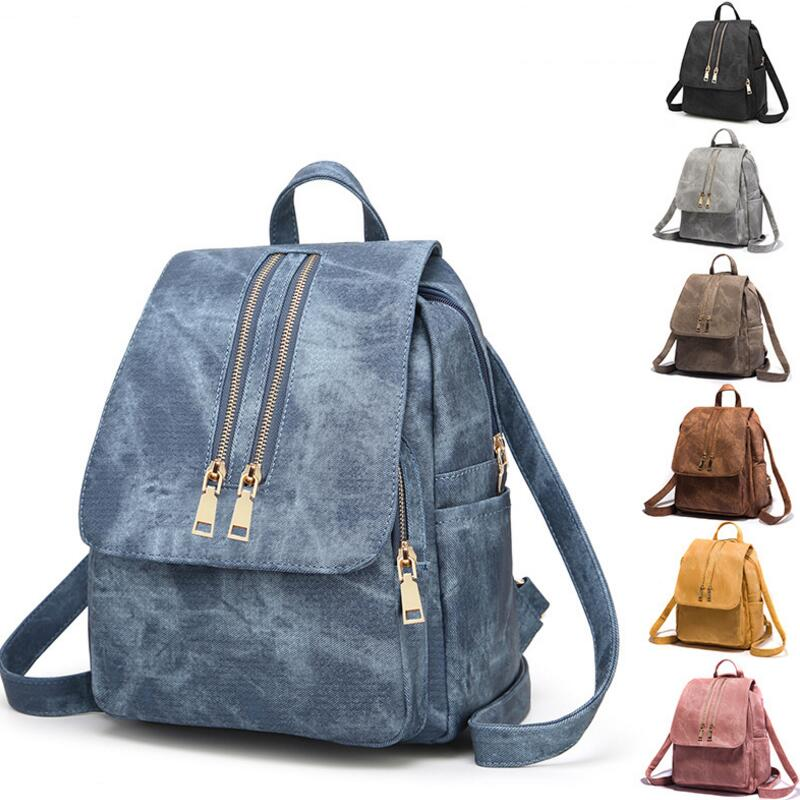 Z.L.D.Female Student Canvas Backpack Student School Bag Large-Capacity Soft Leather Backpack Womens Traveling Backpack