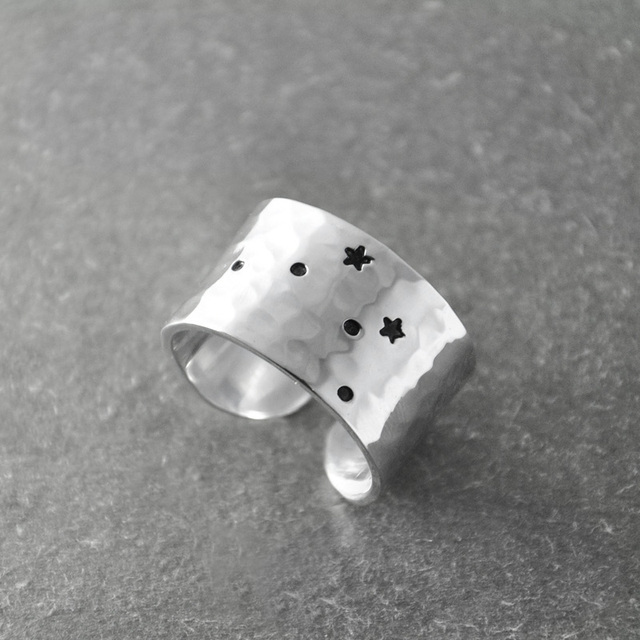 Libra Zodiac Constellation Ring Birthday Gift Wide Band