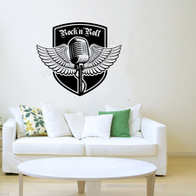 Art  Wall Sticker Micropnone Decoration Music Decor Rock Poster Removeable Vinyl Mural Decal LY86
