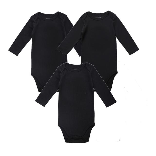 3 unids/lote unisex lugar baby girl boy clothing bebé recién nacido mono Negro 100% de Algodón Suave 0-12 Meses Bebé de la Manga Larga ropa