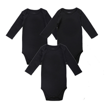 3 Pack 100% Cotton Long Sleeve Place Unisex Romper For  0-12 Months