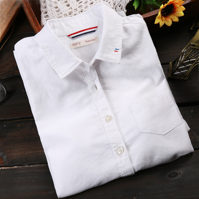 White Shirt Long Sleeve Shirt Women Cotton Blouse Free Shipping