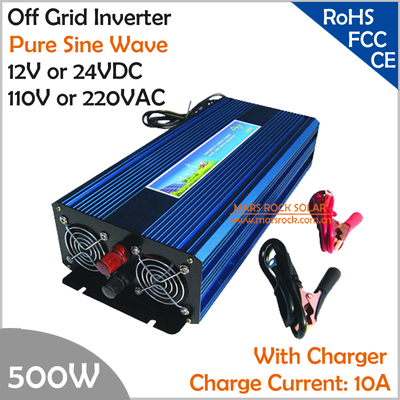 500W Off Grid Inverter with Charger, Surge Power 1000W DC12V/24V AC110V/220V Pure Sine Wave Inverter with charge function  5000w dc12v 24v ac110v 220v off grid pure sine wave single phase power inverter with charger and lcd screen