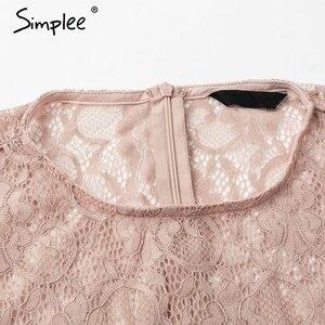 Image 5 - Simplee レース刺繍ペプラムブラウスシャツ女性のエレガントな flare スリーブ白ブラウス女性カジュアル中空アウト夏トップス
