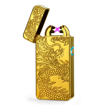 2018 Newest Electronic Usb charging double arc lighter plasma eletronic pulse lighters Chinese dragon shape lighter 8