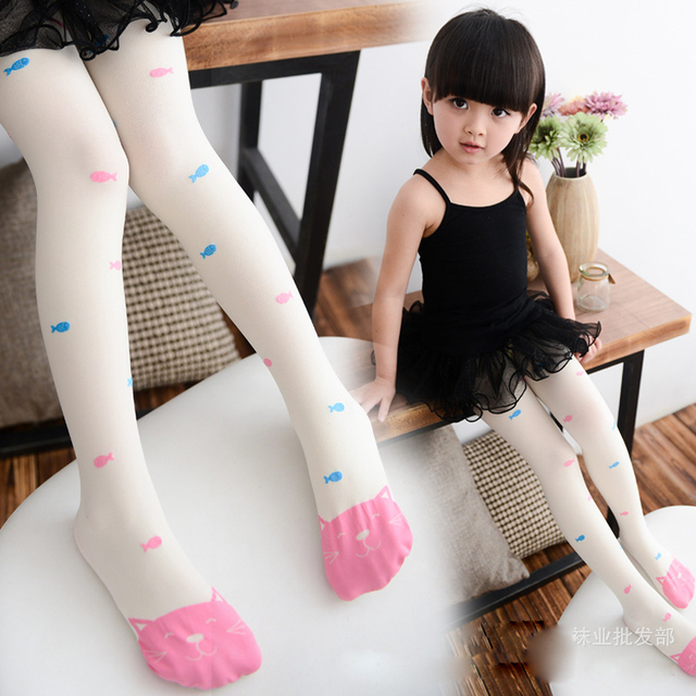 6e6e8bab0803d Baby Girl Children Tights Cat Pantyhose Girl Spring and Autumn Girl Kid  Tights Cartoon Rainbow Colors Girls Print Fish Tights