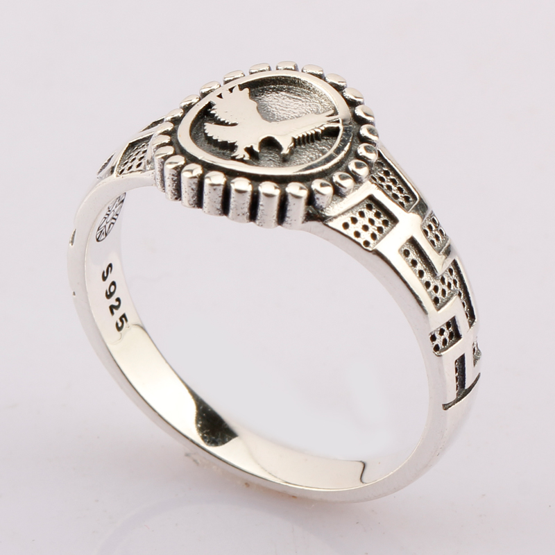 Punk Real Pure 925 Sterling Silver Men Ring Flying Eagle Cross Do Old Vintage Style For Men Women Lovers Fashion Jewelry punk style pure color hollow out ring for women