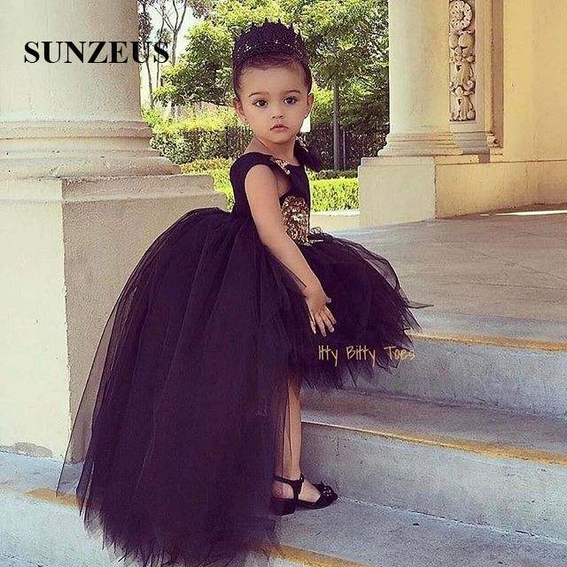 17a6c224abd32 US $109.0  Black Flowers Girls Dress Short Front Long Back Tulle Party  Dresses For Childern High Low Puffy Kids Birthday Gown FLG006-in Flower  Girl ...