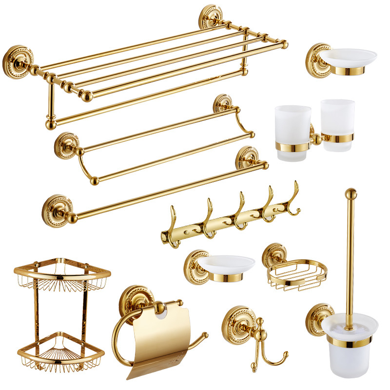 Acessórios para Banheiro Suporte de Papel Barra de Toalha de Bronze Prateleira do Banheiro do Banheiro Prato de Sabão Conjunto de Hardware Grupo Robe Gancho Toalheiro Dourado