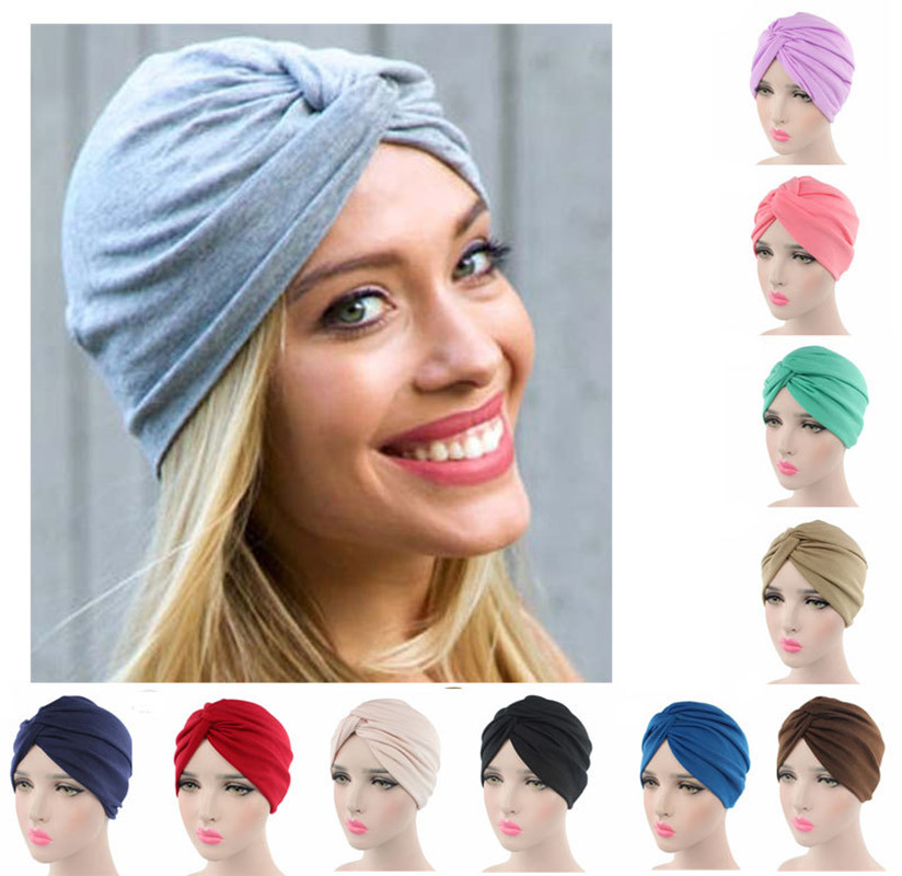 Muslim Women Stretchy Cross Cotton Turban Hat Chemo Beanie Cap Scarf Headwear Headwrap Plated for Cancer Hair Loss Accessories