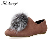 Kickway Women Loafers Shoes With Fur Spring Autumn Fox Fur Flats Women Loafer Shoes Slip On Shoes Women Sheep Leather Loafers