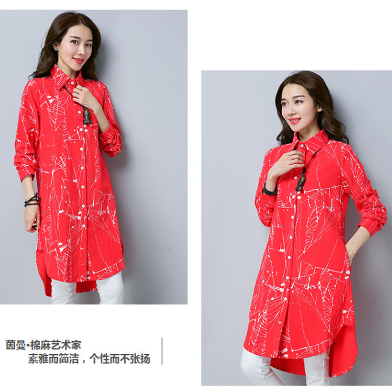 Chemisier femme coton & lin Graffiti col rabattu Long lagenlook dame Voguees tendance longues chemises lin tuniques Cardigan - 4