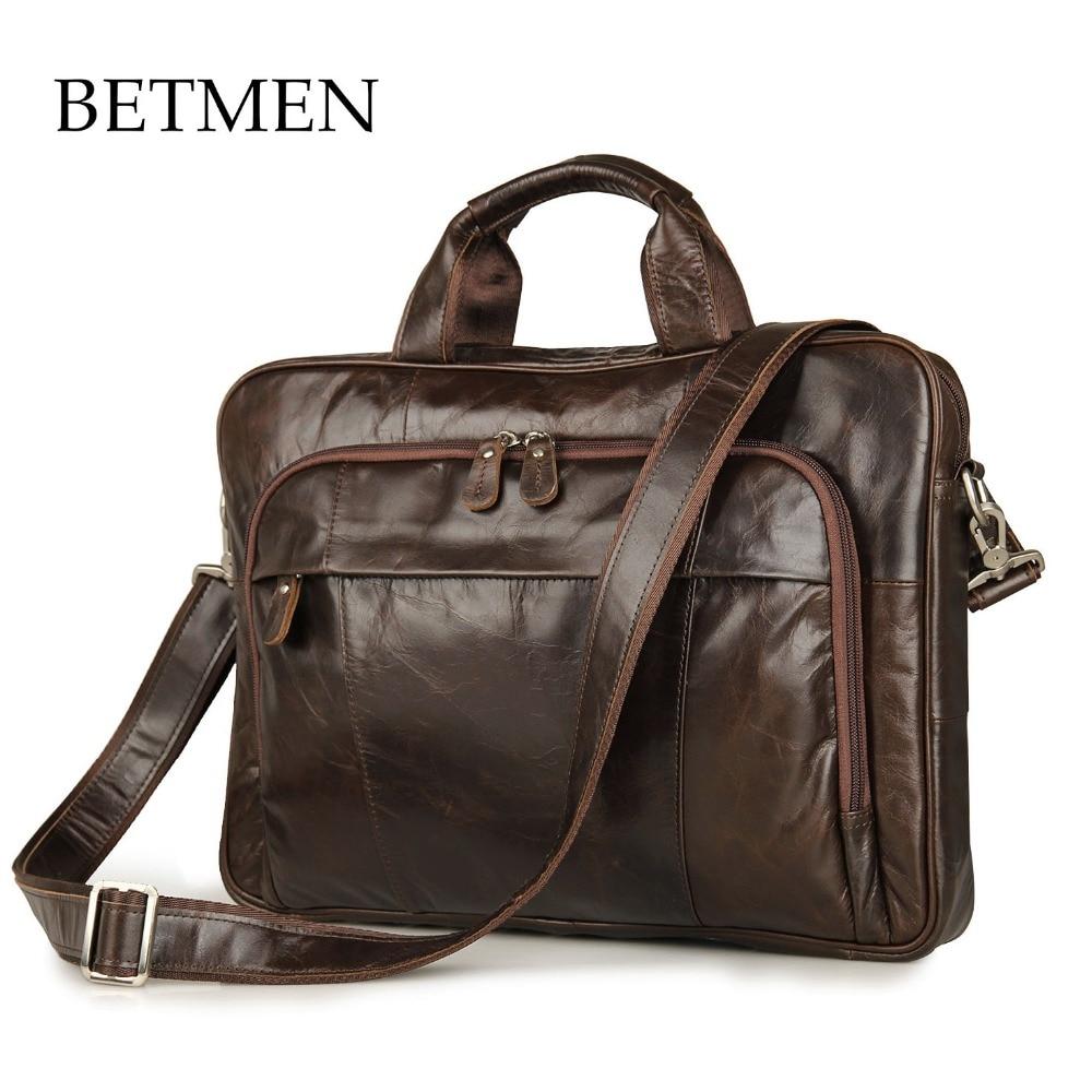 BETMEN Vintage Handbag Genuine Leather Bag Brand Men Briefcase Business Casual Laptop Bag