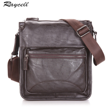 RAYCELL Black Men Cross Body Cow PU Leather Bag bolsa Vintage Men Messenger Saffiano Casual Solid Business Shoulder Bag