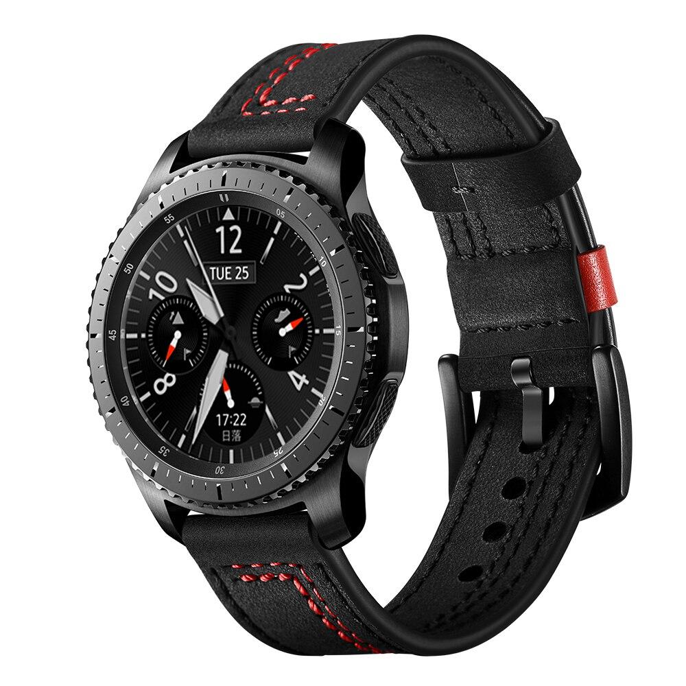Bracelet en cuir véritable pour Samsung Galaxy montre 46mm/Gear S3 frontier/bracelet classique huawei montre GT 2 ceinture 22mm bracelet de montre