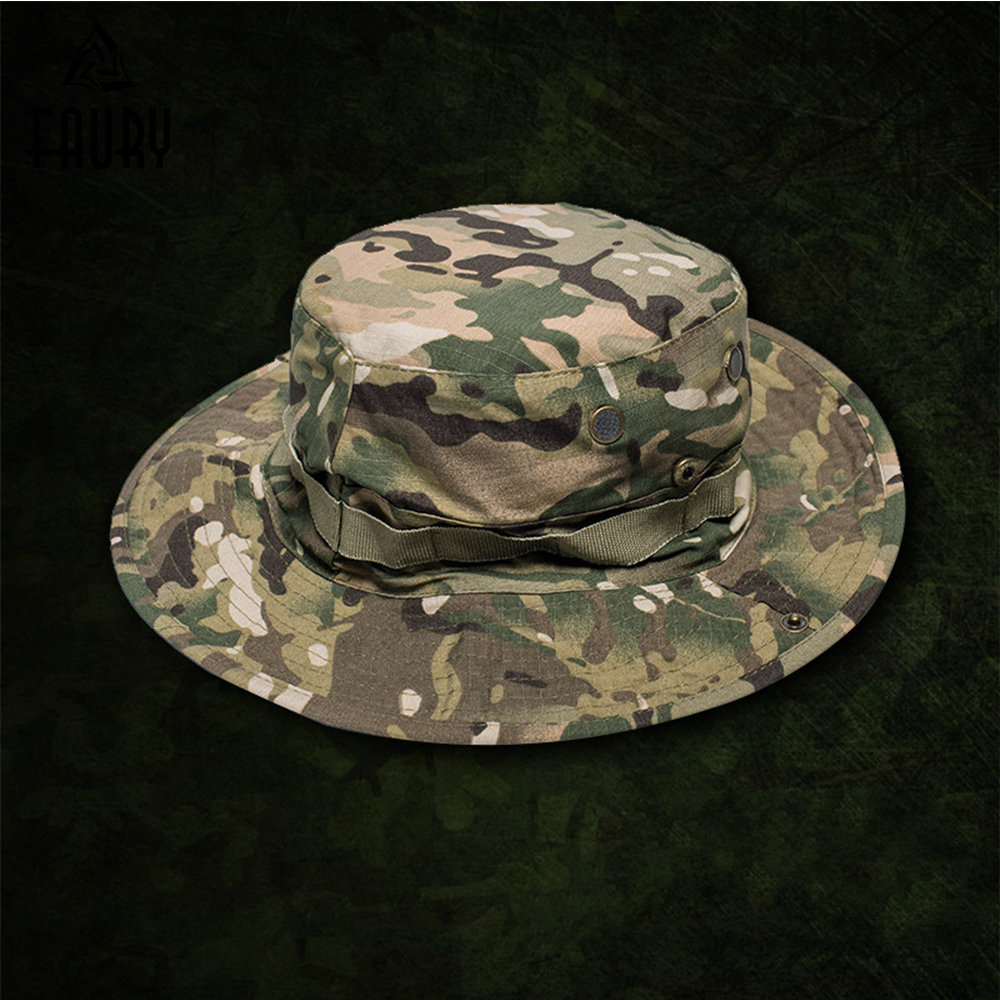2018 Military Boonie Bucket Cap Hats Mc/cp Army Jungle Camo Tactical Camouflage Unisex Military Accessories High Quality