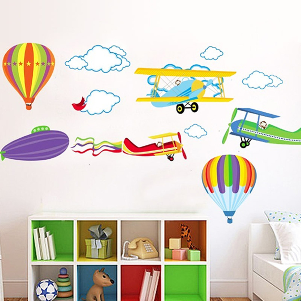 Cartoon Airplane Hot Air Balloons Wall Sticker PVC Home Decals For Kids Room Boys Home Decorations Nursery Room Mural Art Decals