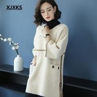 XJXKS women good quality 2019 new selling pullover long sweater three quarter sleeve casual pockets women korean sweaters