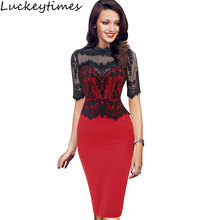Womens Elegant Vintage Pinup Retro Floral Lace Peplum See Through Mesh Patchwork Party Club Bodycon Fitted Dress 1796