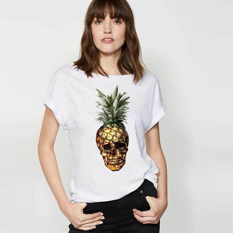 LUS LOS Pineapple Skull Head White Women T-Shirt Fashion Cotton Tshirts