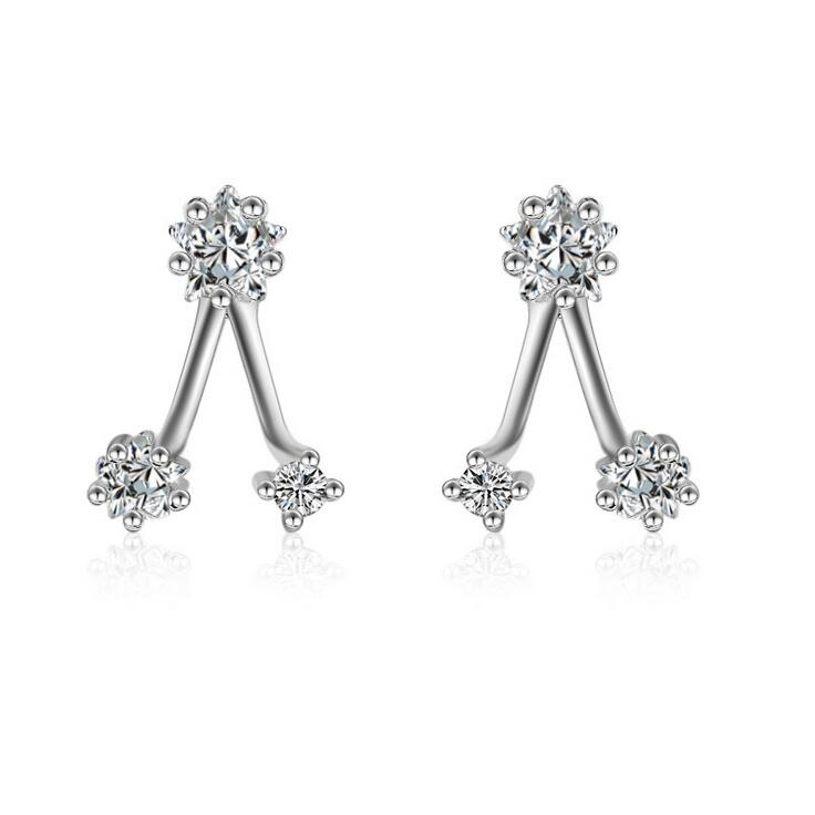 Hot sell fashion shiny zircon star 925 sterling silver ladies`stud earrings women wholesale gift promotion jewelry