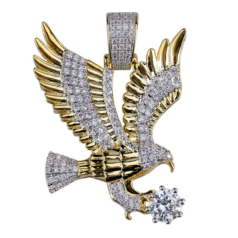 Men Iced Out Eagle Pendant Necklace With Gold Chain Hip Hop Jewelry