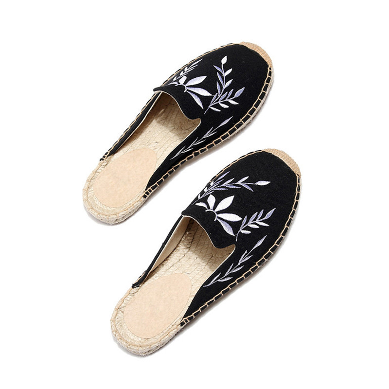 2019 Summer Women Half Slippers Embroidery Maple Leaf Cats Slide Flat Bottom Hemp Rope Weaving Fisherman Shoes Women Espadrilles (12)