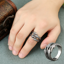 1PC Hot Punk Silver Men Rings Ttanium Steel Eagle Claw Resizable Personality Rocking  Jewelry Gift