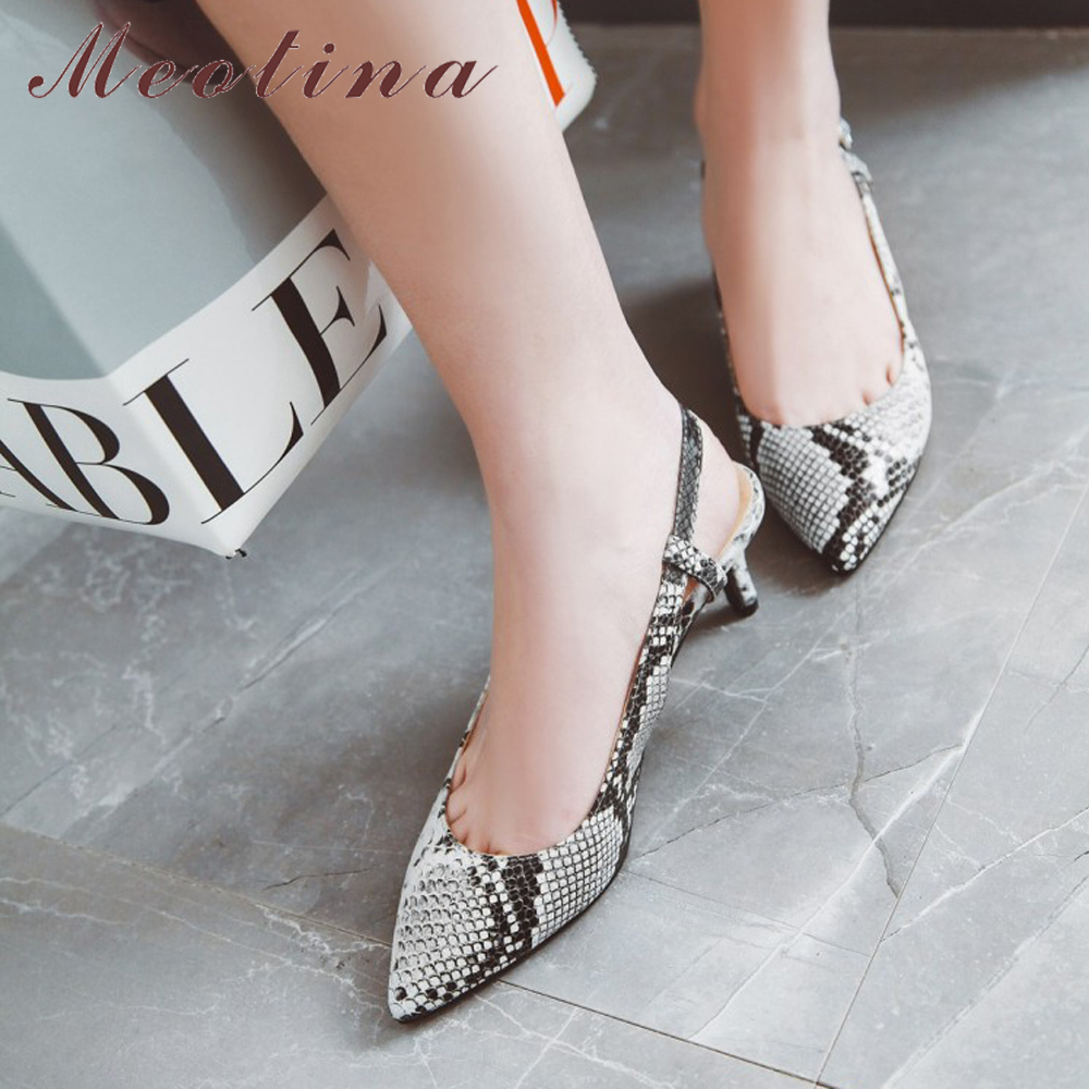 Meotina High Heels Shoes Women Snake Print Thin High Heels Slingbacks Shoes Buckle Pointed Toe Ladies Pumps Spring Big Size 4-12