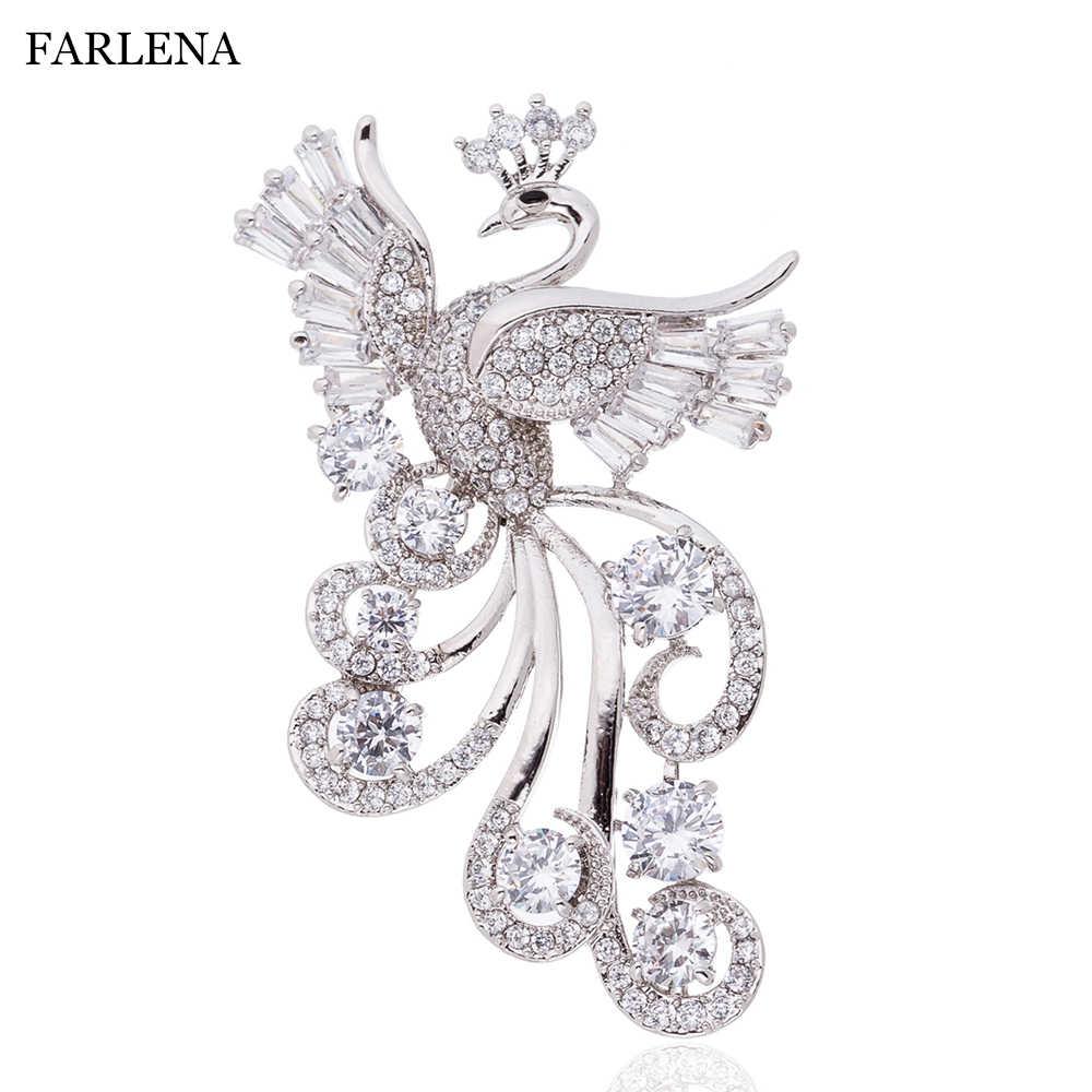 FARLENA bijoux cubique zircone Phoenix broche insignes Hijab broches mode CZ cristal broches pour femmes vêtements accessoires