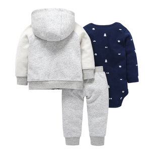 Image 2 - autumn winter baby outfit long sleeve coat zipper+cotton bodysuit+pant 3 piece clothing set 6 24m baby boy girl casual costume