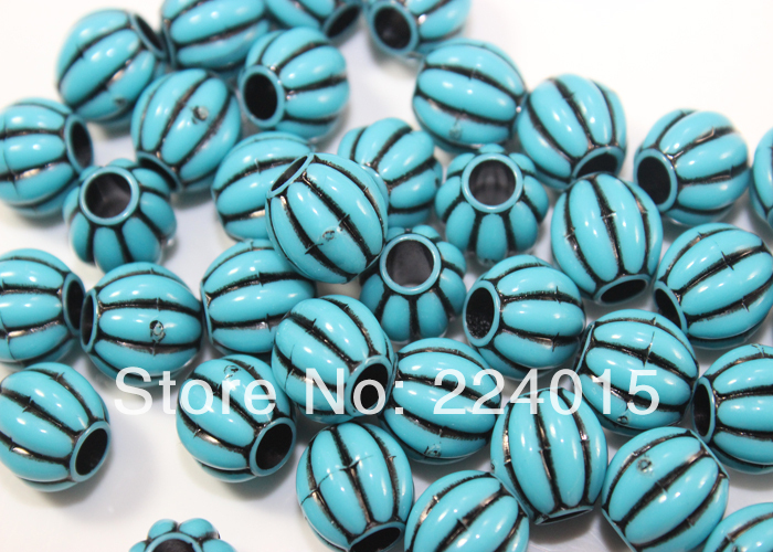 2014 Free Shipping 150pcs/10mm Blue Round  Big Hole Acrylic Beads For Necklace Jewelry Beading Diy