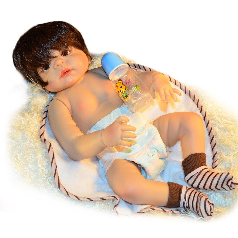 60 см силиконовые куклы Reborn Baby гладкие коричневые короткие волосы мальчик реалистичный хлопок тело Детские куклы мягкое прикосновение Дети ... - 3