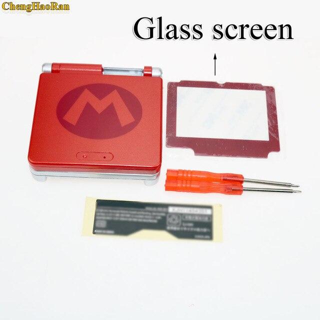 4 نماذج اختارت شاشة بلاستيكية زجاجية لماريو طبعة محدودة غلاف غلاف غلاف كامل لمجموعات قطع Gameboy Advance GBA SP
