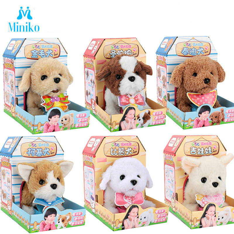Rc Robot Poodle Meeting Electronic Sound Control Interactive Walk Puppy Teddy Dog Pet Plush Toys For Children Kids Birthday Gift