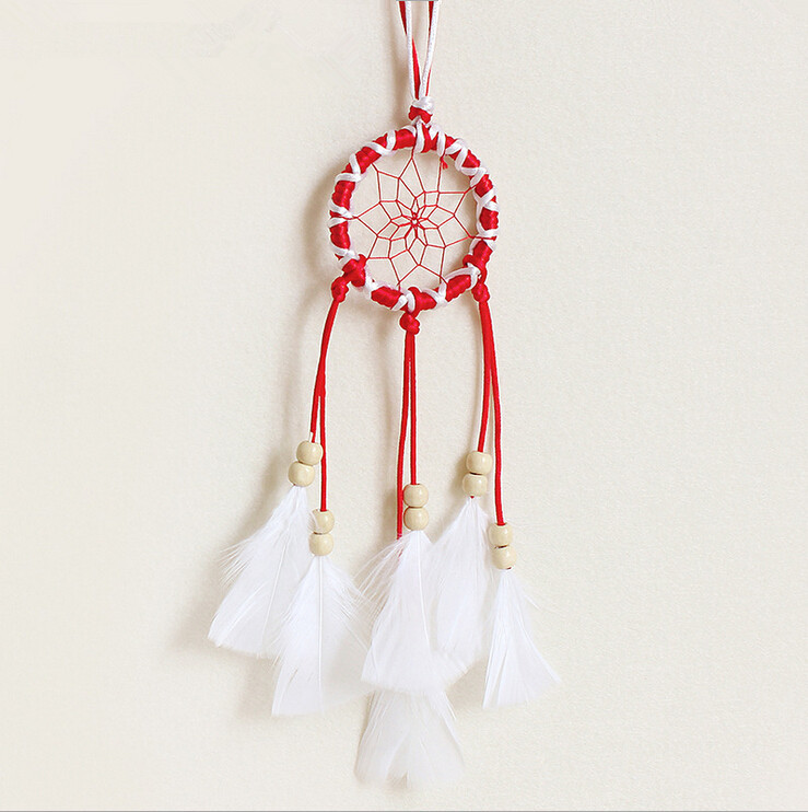 Beautiful Dream Catchers Car Hanging Decoration, Unique Indian Dream Catcher Home Decoration, Red Handmade Wind Chimes