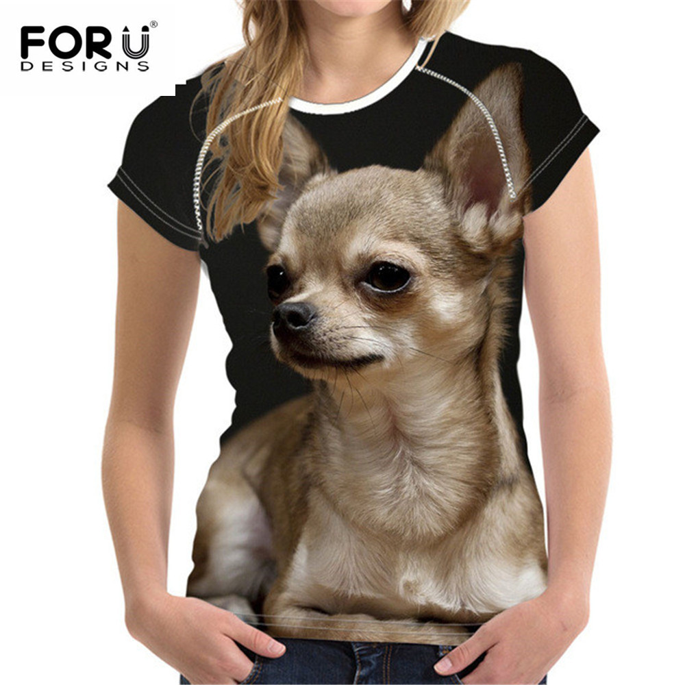FORUDESIGNS Kawaii Chihuahua Female T Shirt for Women Summer Top Tees Shirt Dog Short Sleeve Tshirt Woman T-shirt Girls Shirts