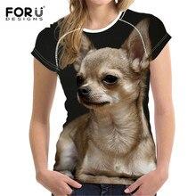 FORUDESIGNS Kawaii Chihuahua Female T Shirt for Women Summer Top Tees Dog Short Sleeve Tshirt Woman T-shirt Girls Shirts