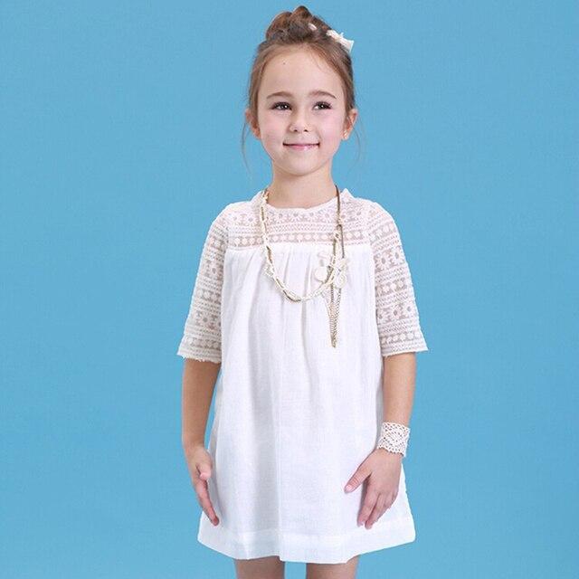 Hollow Cotton Dress For Girls White Fashion O Neck Pattern Flower