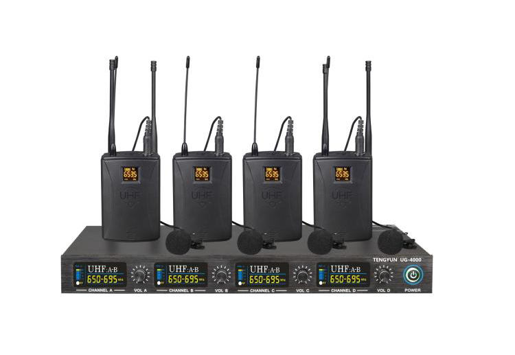 UHF lavalier 4 channels wireless microphone system Lapel mic multichannel bodypack Wireless mics for church school party xtuga ew240 4 channel wireless microphones system uhf karaoke system cordless 4 bodypack mic for stage church use for party