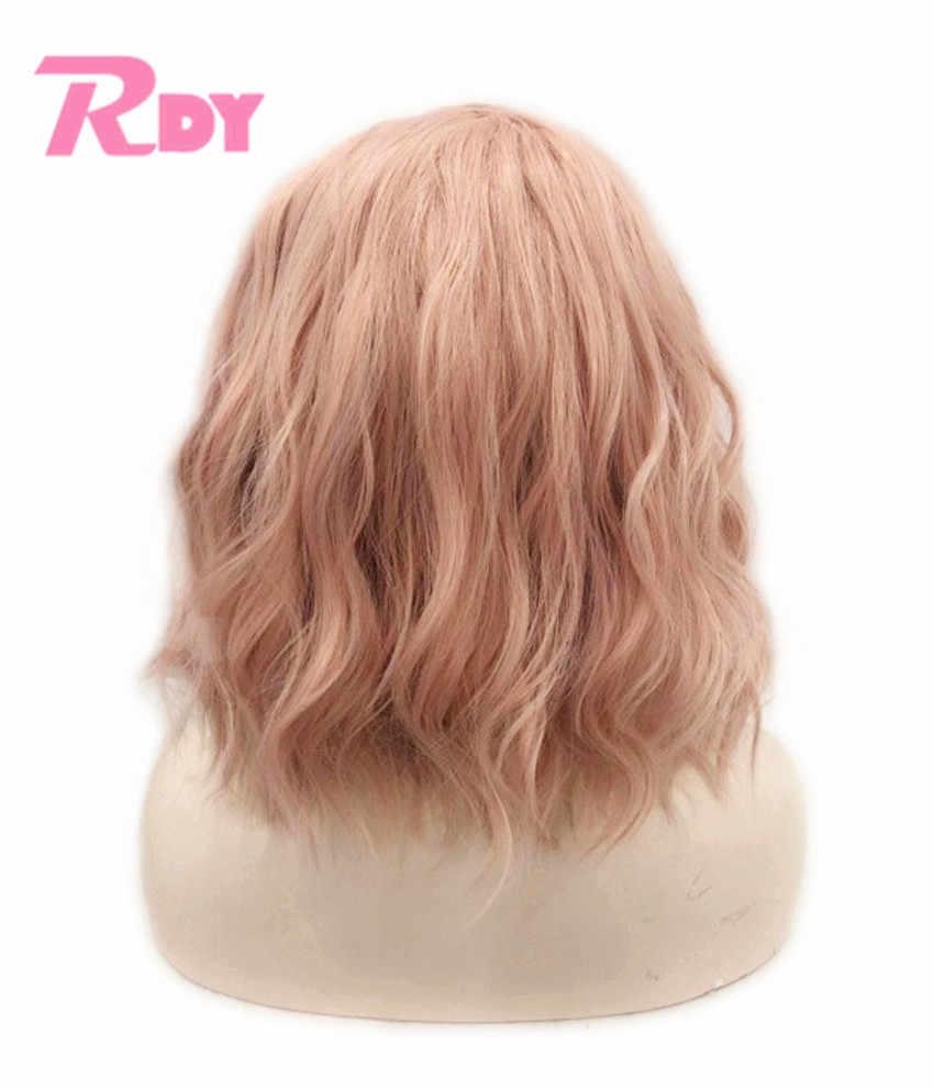 Rongduoyi 12 Polegada curto perucas sintéticas da parte dianteira do laço para as mulheres laranja rosa natural onda bob peruca com parte lateral