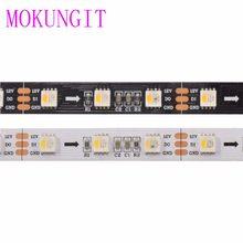Mokungit 5m dc12v sk6812 rgbw rgbww 60leds/m 5050 smd tira de luz led flexível ip20 ip65 ip67 branco/preto pcb 1 ic driver 3 leds