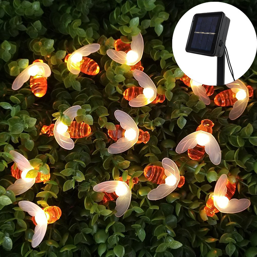 20leds 30leds 50leds Solar Powered Cute Honey Bee Ladybug Led String Light Outdoor Waterproof Garden Fence Patio Christmas Light