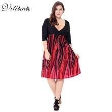 VITIANA 2017 Women Summer Boho Beach Dress Red Black Patchwork Print Bohemian Knee-Length V Neck Clothing  Plus Size 5XL 6XL