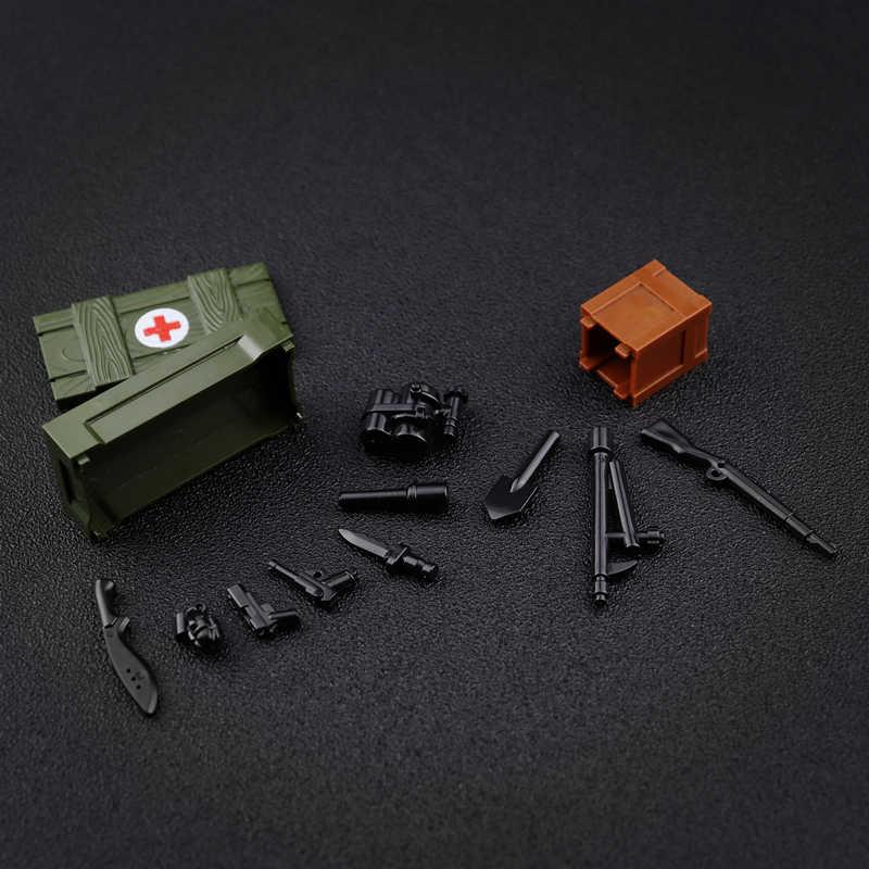 Pistole Arma Scatola Caisson Blocchi di Costruzione WW2 Soldato Accessori Giocattoli Per Bambini Compatibile Legoed MOC Mattoni Parti