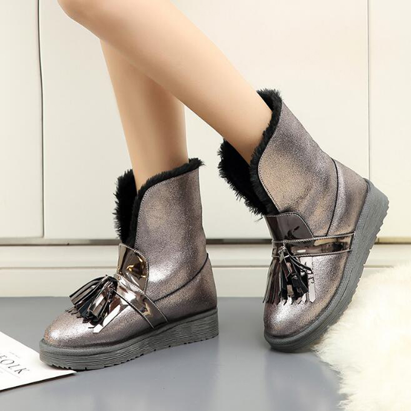 Women boots 2018 new arrivals warm plush winter shoes high quality ankle boots fashion fringe women snow boots цена